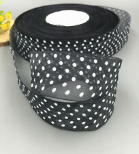 10 Yards 25mm black dot Satin Edge Sheer Organza Ribbon Bow Wedding decoration