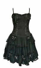 Dark Star Gothic Green Satin & Lace Short Corset  Dress 12-18 Halloween Witch