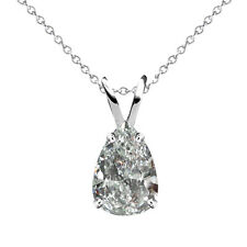 "1 Carat G-H Pear Diamond Solitaire Pendant Necklace 18"" Chain 14K White Gold"