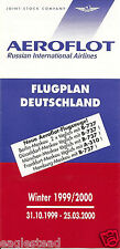 Airline Timetable - Aeroflot - 31/10/99 - German market Edition