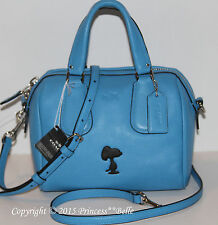 COACH X Peanuts Snoopy Mini Surrey Satchel Purse Tote Bag Blue LIMITED EDITION