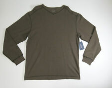 Shirt  Mens Large Roundtree & Yorke Dusty Brown V-Neck Ribbed Knit Long Sleeve