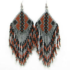 BROWN BLACK GREY NATIVE EARRINGS BEADED FASHION JEWELRY