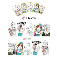 Nail Art Manicure Water Transfer Decal Stickers Fashion Girl BN264
