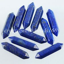 Lapis Lazuli Gemstones Hexagonal Pointed Raw Wand Pendant Beads 1 PCS N1253