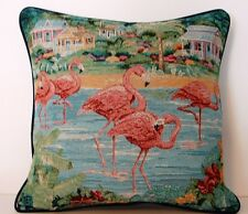 Pink Flamingos w/ Beaches, Palm Trees & Flowers - Paul Brent Tapestry Pillow New
