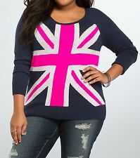 Torrid Navy Blue Neon Pink London Union Jack FlagSweater 1 14 16 1X 6632