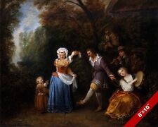 THE COUNTRY FOLK DANCE FRENCH PAINTING MUSIC DANCING ART REAL CANVAS PRINT