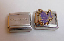 PURPLE BUTTERFLY 9mm Italian Charm + 1x Genuine Nomination Classic Link N5 FEB