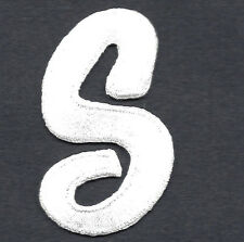 """LETTERS  - White Script  2"""" Letter """"S"""" - Iron On Embroidered Applique"""