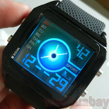 Black Digital Wrist LED Watch Quartz Hours Alarm Day Date Mens Boys D0101