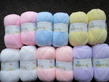 12 x 100g  balls of james brett baby dk mixed pastel colours of yarn/wool