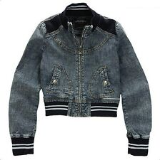 Maru Womens Casual Denim Zip Up Short Jacket Jumper Slim Fit Size XS/S NWT