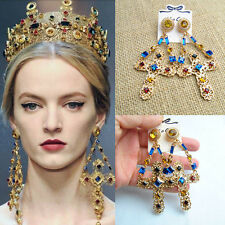 Women Noble Baroque Crystal Drop Dangle Statement Shiny Party Cocktail Earring B