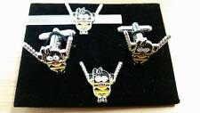 Kinky Girl Submissive Minions Cufflink, tieslide lapel pin set, Despicable, S+M