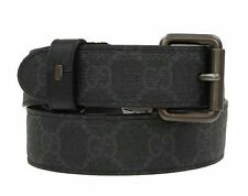 NEW GUCCI BLACK GRAY GUCCISSIMA REVERSIBLE LOGO BUCKLE BELT 85/34
