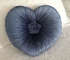Blue Velvet Heart Cushion / Throw Pillow Shabby Chic French Country