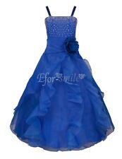 Blue Flower Girl Princess Kid Party Pageant Wedding Bridesmaid Tutu Dresses 8T