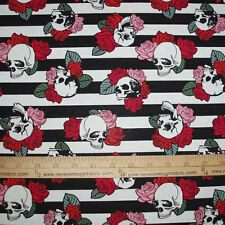 Cotton Fabric Punk Skulls on Black Stripes Floral Pink Red Roses Goth BTY