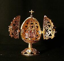 St Petersburg Russian Faberge Egg: Filigree Egg with Cathedral, 2.6""