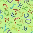 A-B-SEAS UNDER THE SEA GREEN TOSSED LETTERS ALPHABET FABRIC