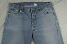 Levi 501 Button Fly Straight Leg Faded Denim Jeans Tag 38x31 Measure 36x29