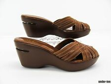 COLE HAAN NIKE AIR Womens Brown Platform Wedge Heel Slides Sandal Shoe 7.5B #T6