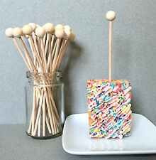 50 Wooden Lollipop Sticks, Rock Candy Sticks, Ball End Lollipop Sticks - 6""