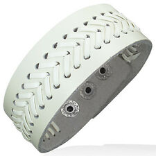 Genuine White Leather Alloy Weave Snap Wristband Unisex Bracelet
