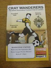 11/09/2013 CRAY Wanderers V Maidstone United. grazie per la visualizzazione di questo oggetto, ci