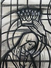 T63 - Antique stained glass window cartoon design - Coronation of Mary - section