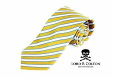 Lord R Colton Studio Tie - Yellow Pearl & Blue Stripe Necktie - $95 Retail New