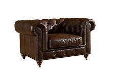 Crafters and Weavers Top Grain Vintage Leather Chesterfield Arm Chair