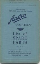 Austin Fourteen 14 original Spare Parts List 1937 Pub. No. 1490C