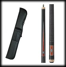 New Action ACT141 Pool Cue Stick - Black with Cocobolo Points 18 - 21 oz & Case