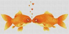 Kissing Goldfish Counted Cross Stitch Kit   Wildlife/Animals Designs In Thread
