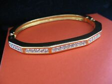 SWAROVSKI SWAN SIGNED CLEAR CRYSTAL GOLD PLATED UNIQUE BRACELET  BANGLE