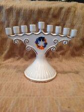Beautiful Porcelain Jewish Hanukkah Menorah Ceramic Judaica