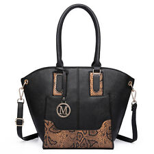 Women Designer Snake Printed Wing Tote Bag Faux Leather Shoulder Handbag Black