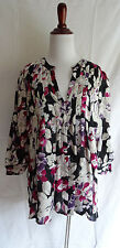 Joie LRG 100% Silk Shirt Black Abstract Pink Flower Pleated Boho Peasant Blouse