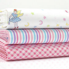 3 FQ Bundle FARIES FAIRY STRIPE & CHECK WHITE & PINK 100% cotton fabric #3 girls