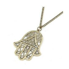 Large Long Bronze Metal Hamsa Hand / Hand of Miriam / Hand of Fatima Necklace