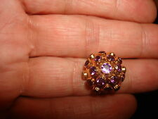 VTG 40's H. STERN ROUND DOMED 18K ROSE GOLD TUBE SPUTNIK AMETHYST STONES RING 7