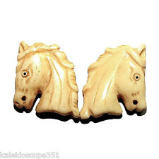 CARVED BONE HORSE HEAD BEAD SMALL 21X24MM 2 BEADS #2