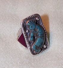 FRANCISCO GOMEZ TURQUOISE SUGILITE KOKOPELLI CARVED STERLING SILVER RING 11.5