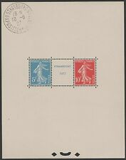 "FRANCE BLOC FEUILLET 2 a "" STRASBOURG 1927 ""NEUFxx CACHET EXPO HORS TIMBRES J844"