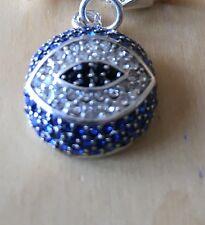 Brillante Azul Y Claro Rhinestones mal de ojo turco Clip en la placa de plata del encanto - 925
