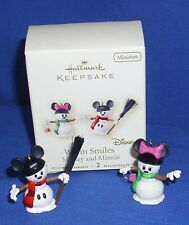 Hallmark Miniature Ornaments Disney Mickey Mouse Minnie Warm Smiles 2007 Snowmen