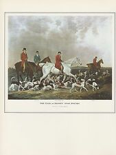 "1974 Vintage STAG DEER HUNTING ""EARL OF DERBY'S STAG HOUNDS"" COLOR Lithograph"