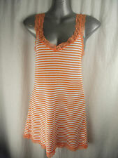 BNWT Ladies Sz 10 Rivers Brand Orange/White Stripe Cute Lace Detail Singlet Top